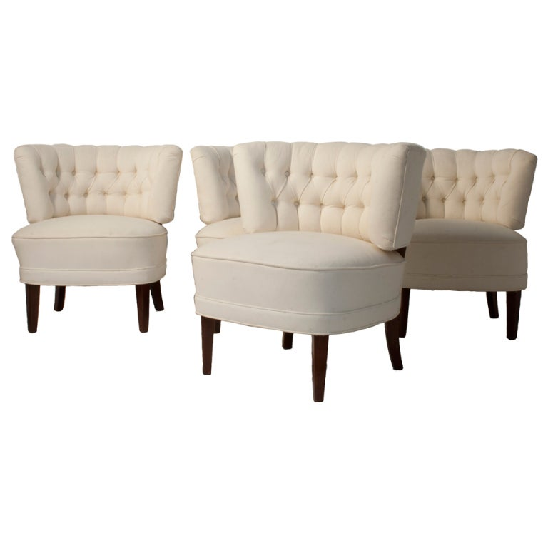 Set of Four Tufted Club Chairs at 1stdibs
