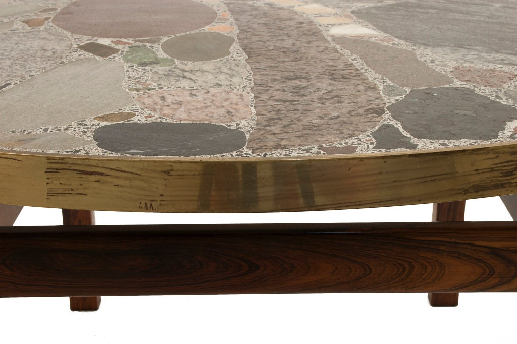 Round Stone Top Coffee Table 3 - Round Stone Top Coffee Table At 1stdibs
