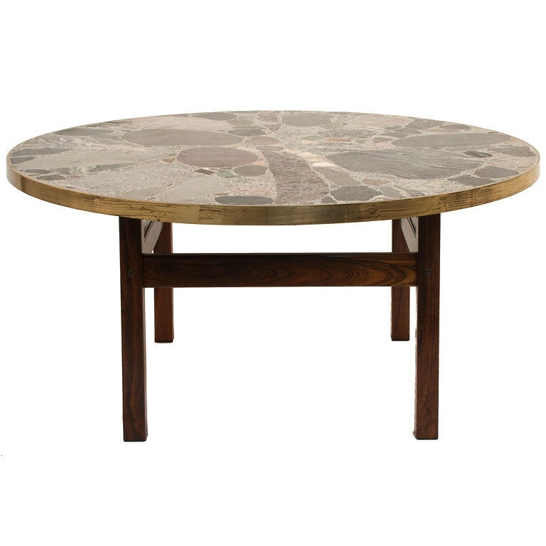 Round stone top coffee table at 1stdibs for Metal coffee table with stone top