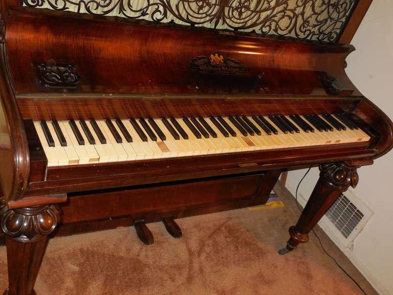 1856 Victorian Antique Upright Grand Piano For Sale 1