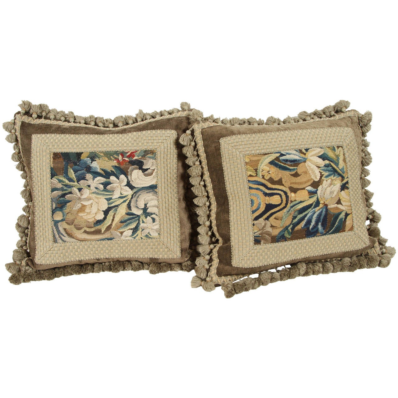 Pair of 19th Century Tapestry Pillows