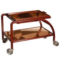 Italian Tea Cart with Mirrored Shelves, circa 1940