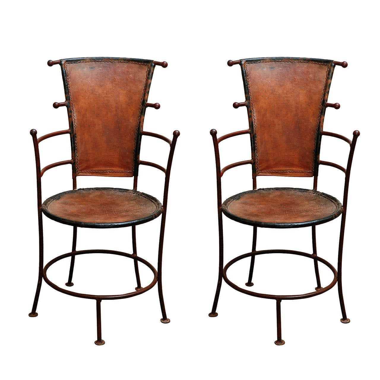 Pair of circa 1940 French Iron and Leather Chairs