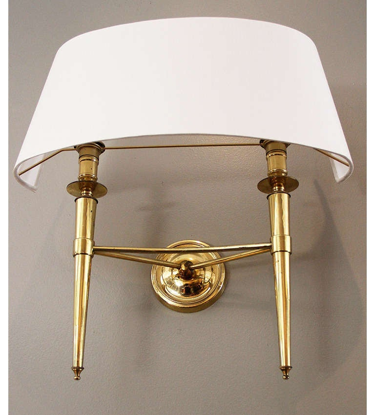Prince de Galles Hotel: Elegant 1940 Pair of Brass Sconces at 1stdibs