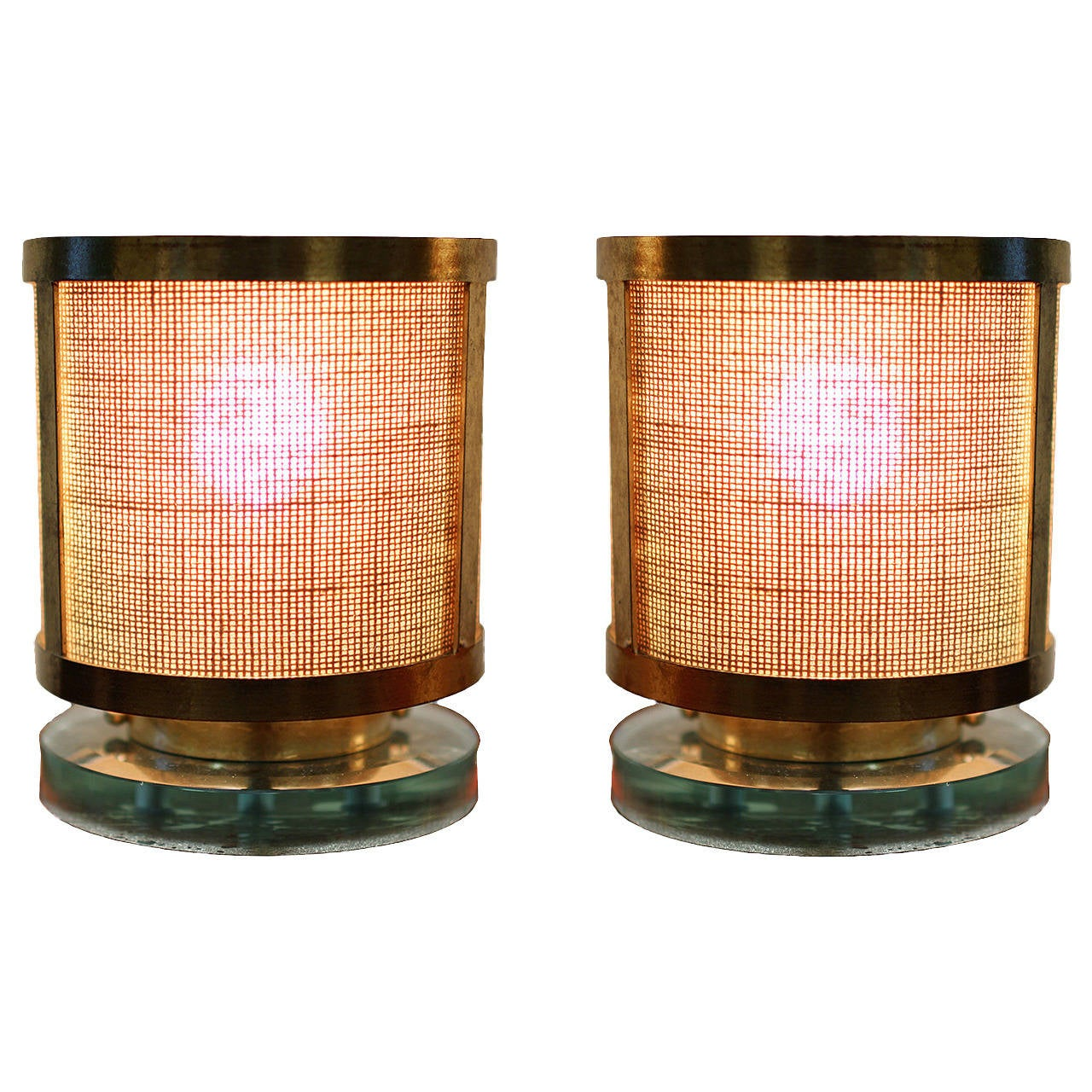 Commercial Table Lamps: 23-Karat Gilt Brass Pair Of Table Lamps From A Parisian