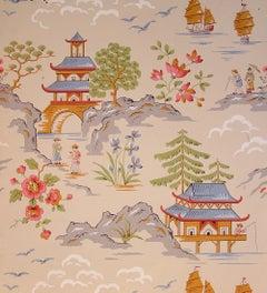 Ernest Wagner Japanese Landscape Scene Gouache 1949