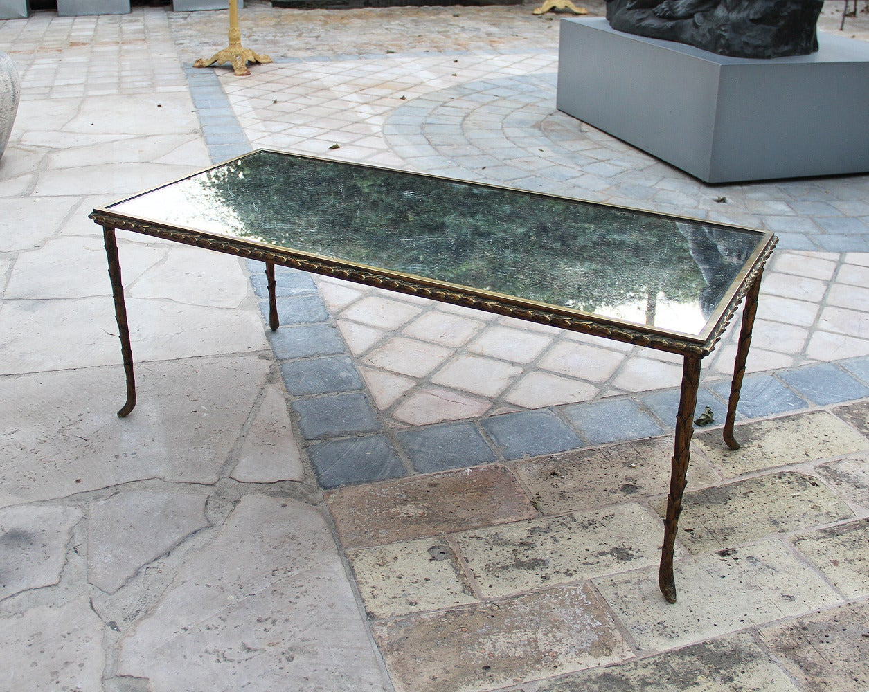 rare bronze table by maison bagu s 1950 for sale at 1stdibs. Black Bedroom Furniture Sets. Home Design Ideas