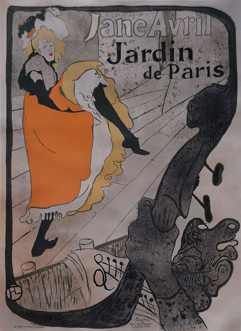 Henri de toulouse lautrec jane avril 1893 at 1stdibs for Jardin de paris jane avril