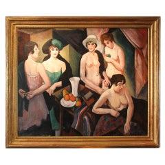 "Museum Quality, c.1921 Early Art Deco Masterpiece Painting ""Reunion de Femmes"""