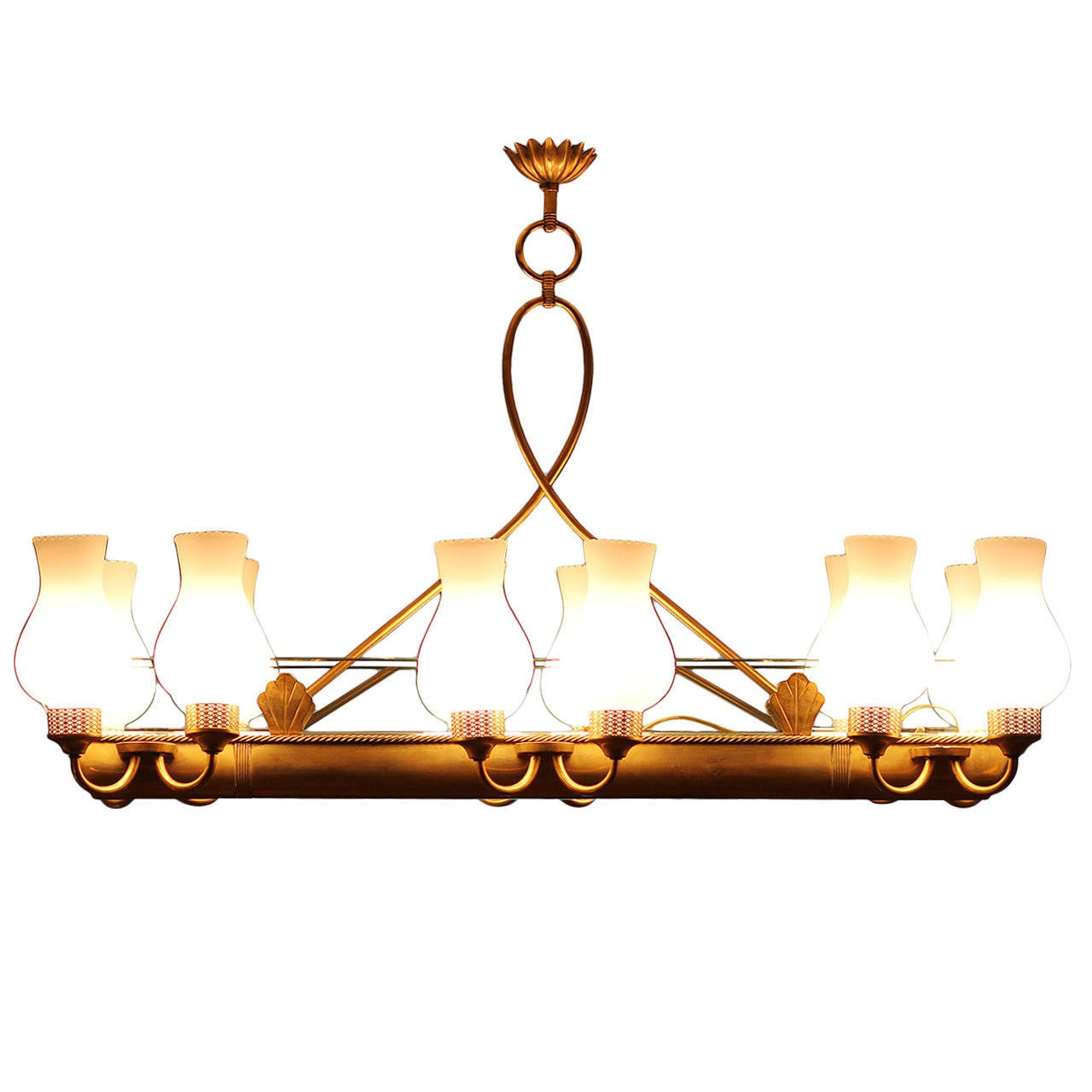 Very elegant French 1940 Brass Chandelier For Sale