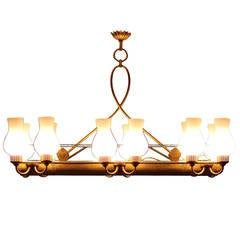 Very elegant French 1940 Brass Chandelier
