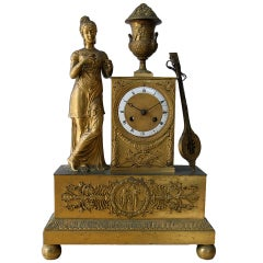 French 1820 Restauration Gilt Bronze clock