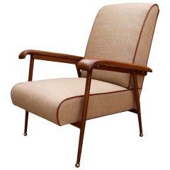 Authentic & Original 1950 Jacques Adnet lounge Chair