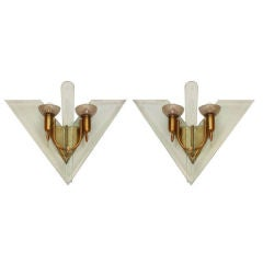 Pair of Glass & Brass Sconces 1950