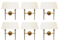 Prince de Galles Hotel Elegant Set of 6 Brass Sconces France 1940