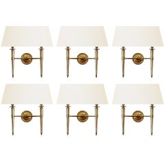 Prince de Galles Hotel: Elegant 1940 Set of 6 Brass Sconces.