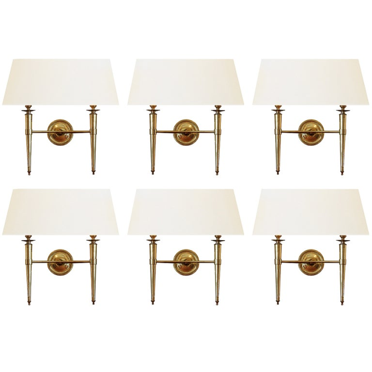 Prince de Galles Hotel: Elegant Set of 6 Brass Sconces, France 1940