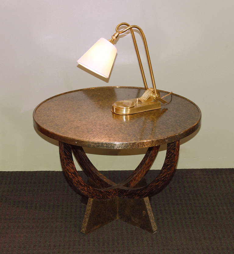 """Eugene PRINTZ: Extremely rare Palmwood and Oxidized brass Coffee Table, France 1935 Stamped """"E. PRINTZ"""" underneath the base.  Measurements: H 18"""