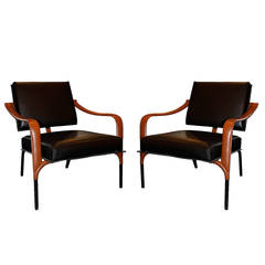 Jacques Adnet Pair of Leather Lounge Chairs, France, circa 1955