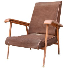 Authentic & Original 1950 Jacques Adnet lounge Chair