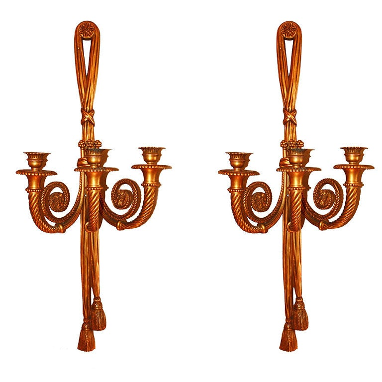 Bronze Wall Sconces For Candles : Maison BAGUES, Important pair of Gilt Bronze Wall Candle Sconces at 1stdibs