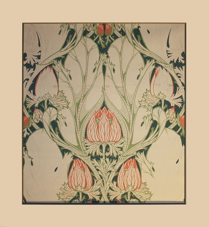 ART NOUVEAU France 1899 Very rare gouache depicting flowers in the full Art Nouveau spirit. Very close and typical to Henry Van De Velde Works  H.25