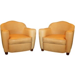 Jules Leleu, Rare Pair of 1945 Leather Club Chairs