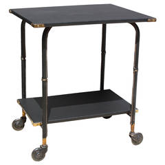 Jacques Adnet Black Leather Cart Table, 1960