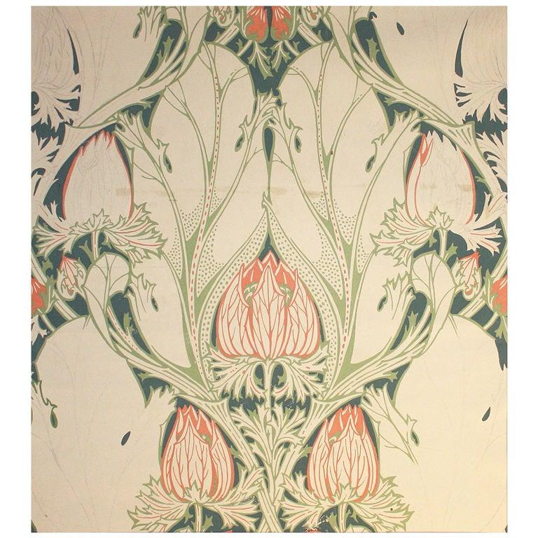 Very Rare Art Nouveau Gouache, Van De Velde 1899 For Sale