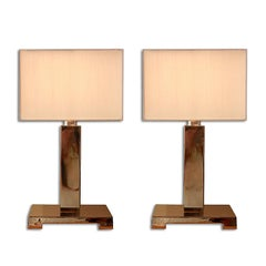 G. Mathias: Pair Of Bronze Lamps, France 1980