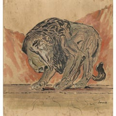 Jouve Original Art Deco Painting of a Lion
