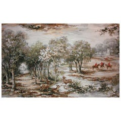 Very large Art Deco Painting, Hunting Scene around the Castle