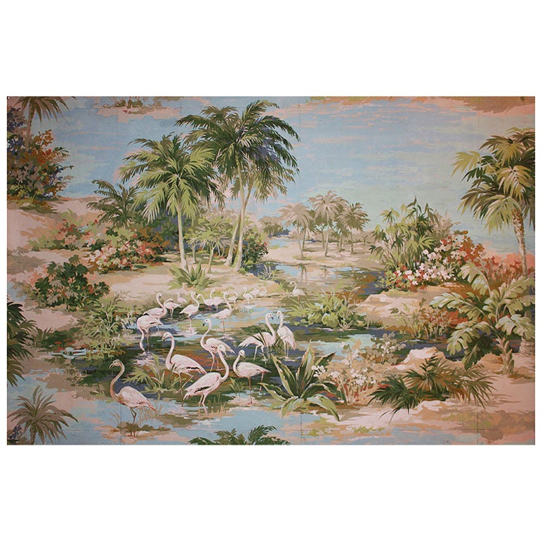 """Large Oriental Painting by Richard Vigneux, """"Flamingos"""""""
