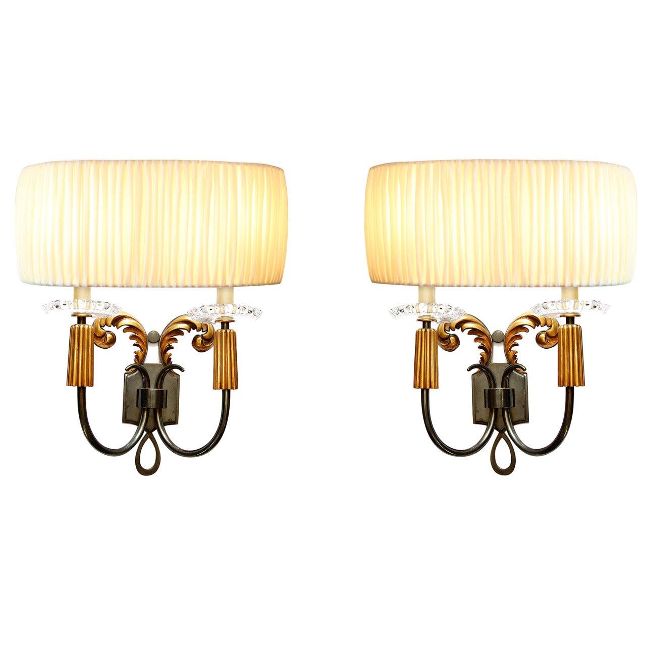 Elegant Pair of 1940s French Bronze Sconces