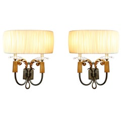 Elegant Pair of 1940s French Bronze Sconces