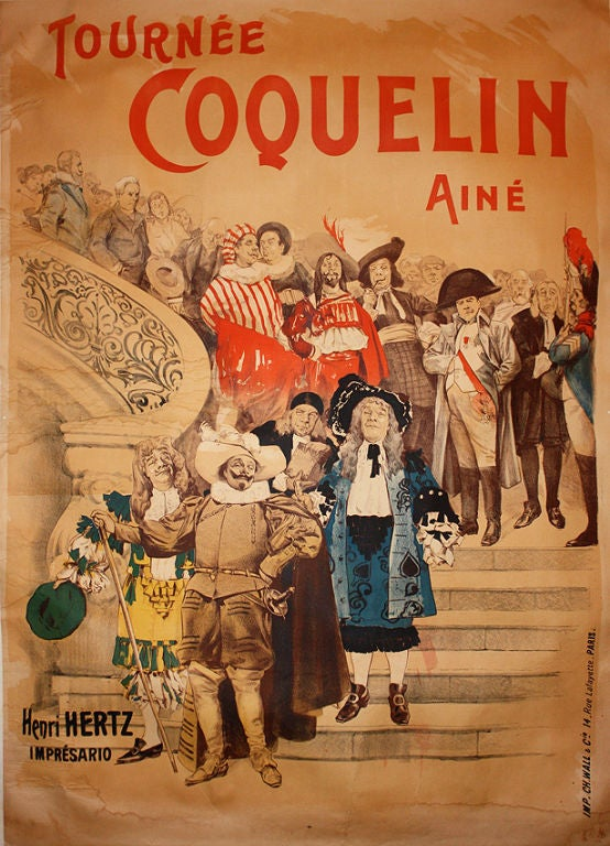 rare 1910 poster from theatre de la porte st martin at 1stdibs. Black Bedroom Furniture Sets. Home Design Ideas