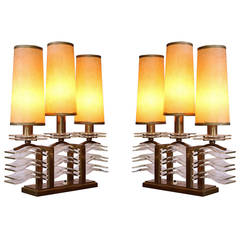 Spectacular Pair of Oxidized Bronze and Glass Table Lamps by Sabino