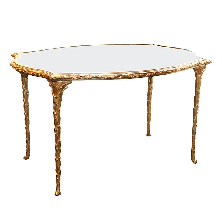 Maison Bagues 1950 Gilt Bronze And Mirror Top Coffee Table At 1stdibs