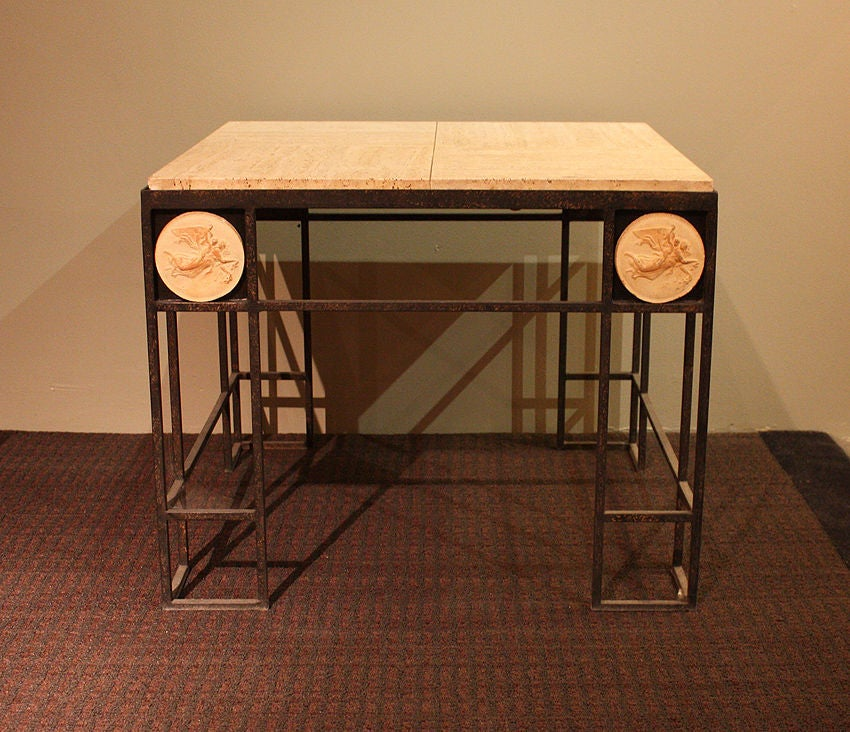 French Pair of Travertine and Iron Coffee Tables, France 1950 For Sale