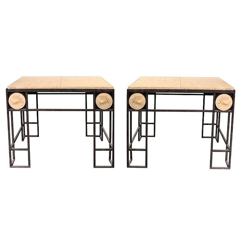 Pair of Travertine and Iron Coffee Tables, France 1950 For Sale