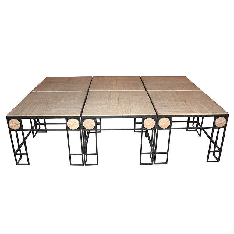 Pair of Travertine and Iron Coffee Tables, France 1950 For Sale 2