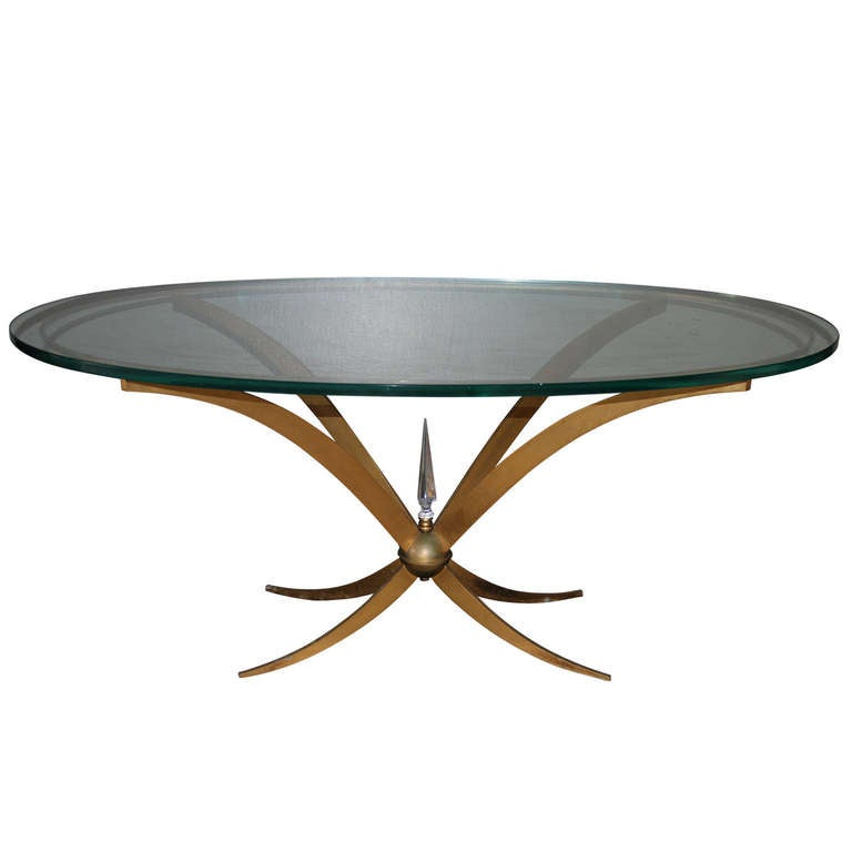 French Brass And Glass Coffee Table With Crystal Obelisk