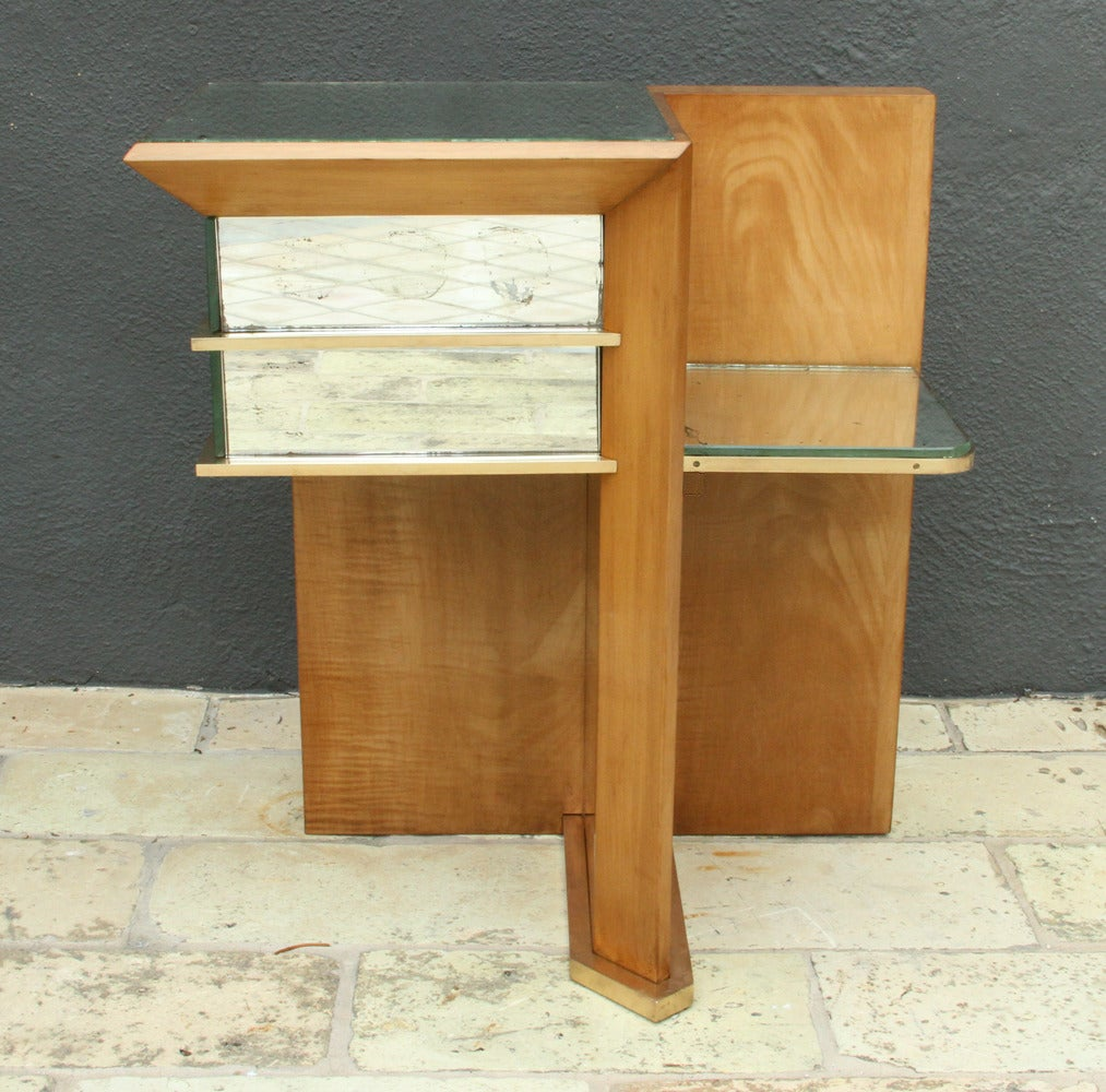 Mid-20th Century Rare Pair of Modernist Art Deco Side Tables, Attributed to Jacques Adnet, 1940 For Sale