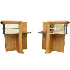 Rare Pair of Modernist Art Deco Side Tables, Attributed to Jacques Adnet, 1940