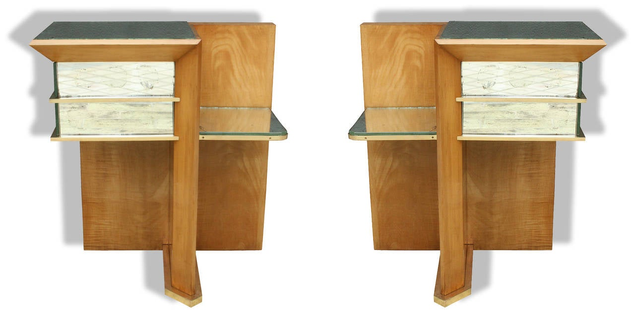 Brass Rare Pair of Modernist Art Deco Side Tables, Attributed to Jacques Adnet, 1940 For Sale