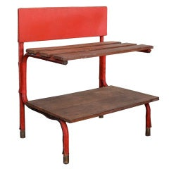 Jacques Adnet, Rare Red Leather Shelf, c.1950