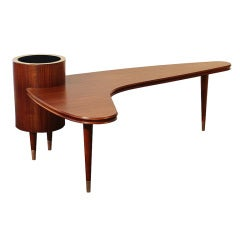 Maurice RINCK: Mahogany and Brass Coffee Table, France 1950