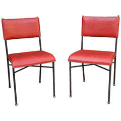 Jacques Adnet- Pair Red Leather Chairs Original Frame, France 1950