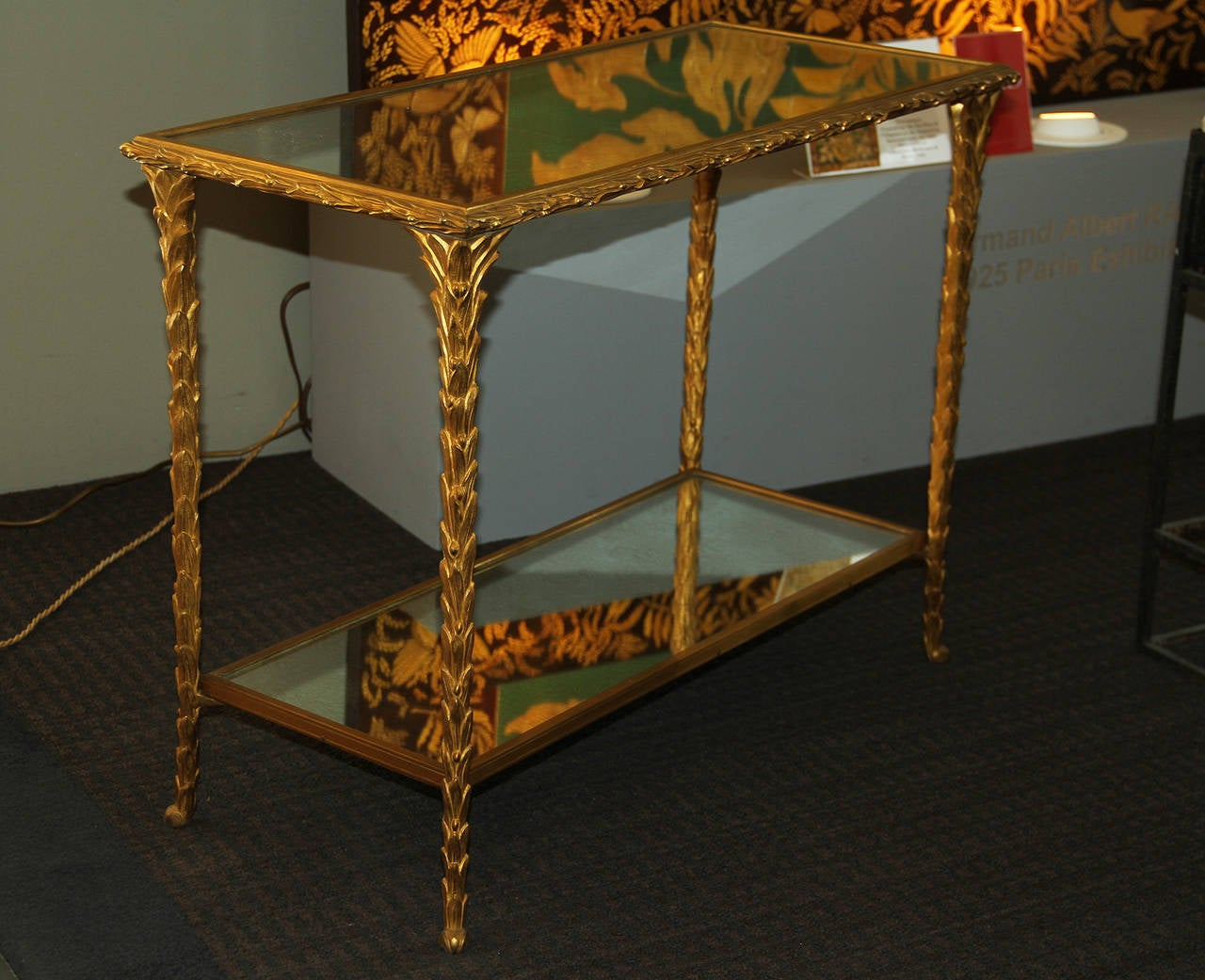 Brass Pair of Bronze Side Tables by Baguès For Sale