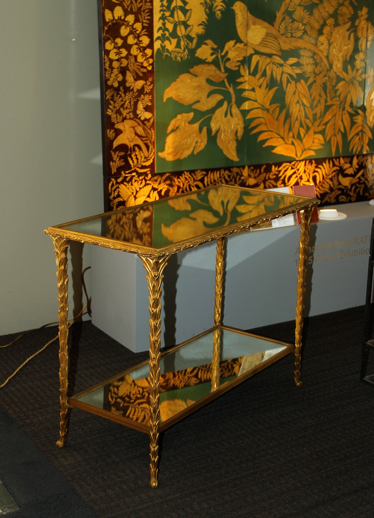 Mid-20th Century Pair of Bronze Side Tables by Baguès For Sale